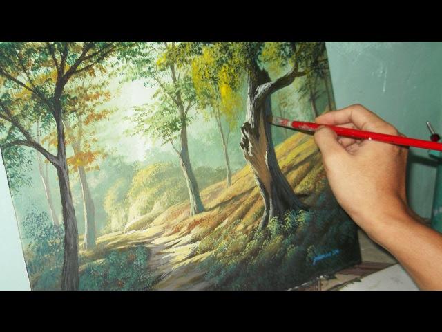 Acrylic Landscape Painting Lesson - Forest Trees by JMLisondra
