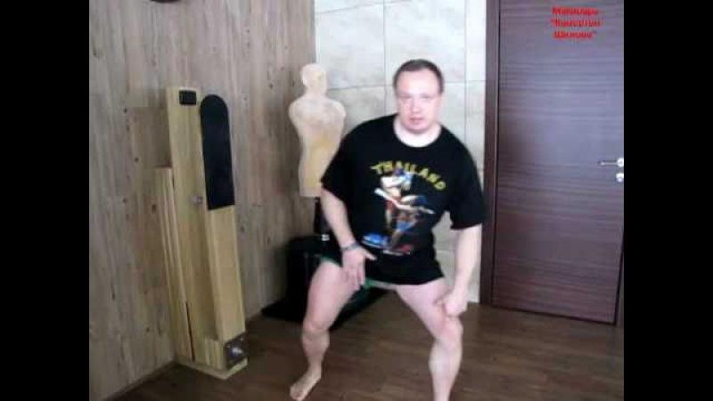 Отработка на макиваре ударов ногами для стритфайтинга