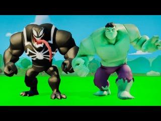 Супергерои мультфильм - Халк и Веном играют с машинками ТАЧКИ дисней гонки Hulk & Venom