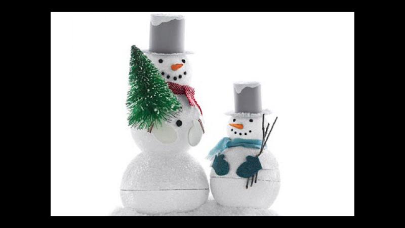 Как сделать снеговика из пенопласта на Новый Год? Вытворяшки