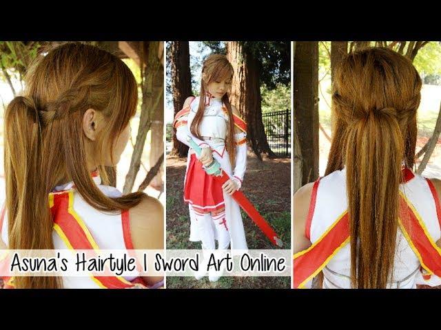 Asuna's Hair Tutorial Sword Art Online Anime Cosplay l Cute Easy Braided Hairstyle for School