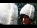 Шапка спицами ДИАГОНАЛЬ Вяжем шапочку по диагонали спицами с мехом ВЯЗАНИЕ вязаные шапки спицами