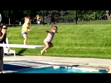 Toddler Pushes Nervous Little Girl off Diving Board at Swimming Pool