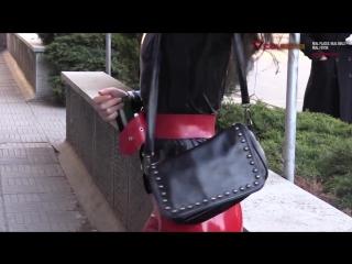 Teaser video from calmara.com. wearing casual latex in publi