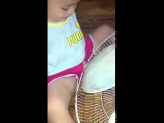 Little Boy Have Fun with table fan