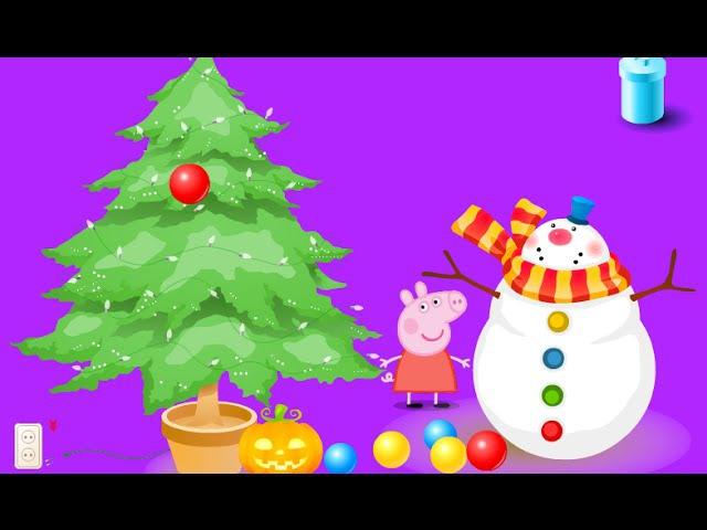 Свинка Пеппа готовится к Новому году. Мультик игра для детей./Peppa pig preparing for a New year.