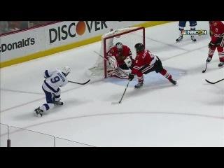 Crawford uses his blocker to deny Johnson