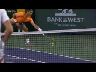 Nadal Hits Hot Shot Running Forehand At Indian Wells