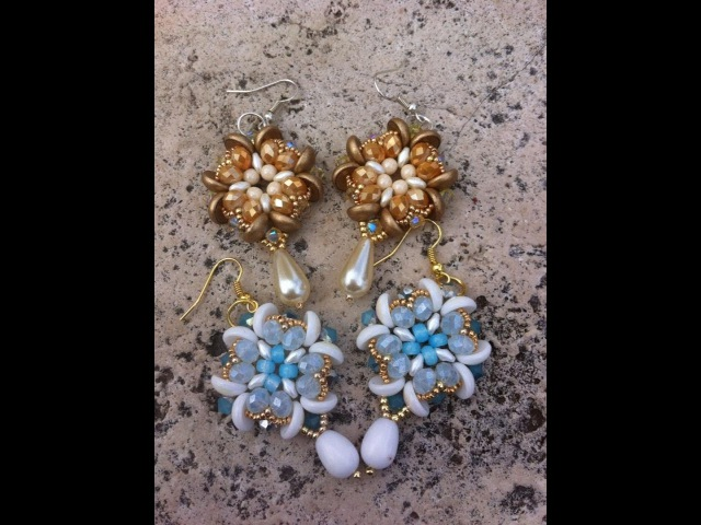 Orecchini con piggy e superduo - Tutorial Earrings Fleur de lys