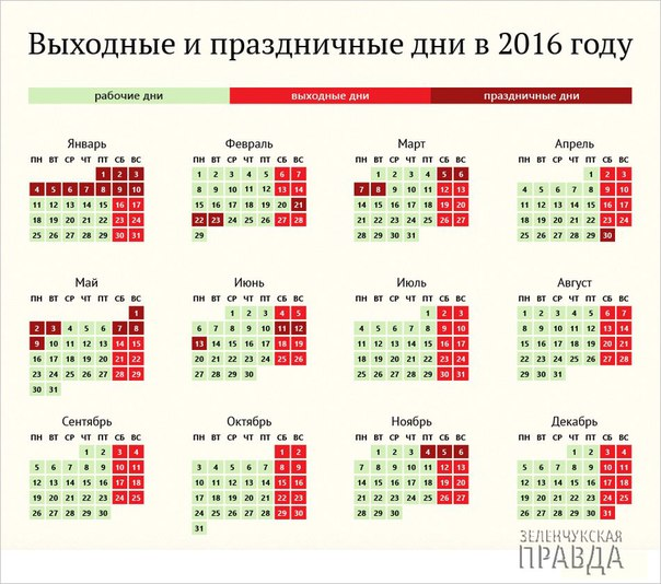 Сколько дней мы будем отдыхать в 2016 году?