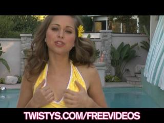 Twistys - Cute teen brunette rubs her clit poolside