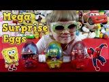 Тачки Губка Боб и Человек Паук игрушки из мультика в мега яйцах