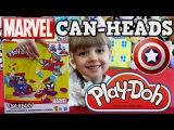 Плей До Человек Паук Капитан Америка Веном. Play Doh Marvel Can Heads на русском.