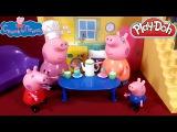 День мамы! Свинка Пеппа и Джордж поздравляют маму с праздником. Лепим кексы из Плей До.