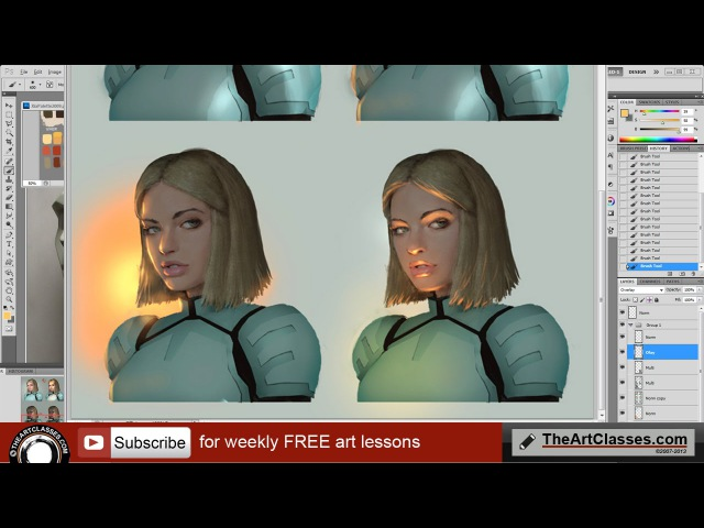 Painting face with different lighting directions tutorial