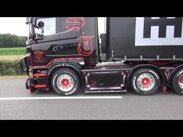 Scania R620 V8 schubert bij truckstar festival, met zijn nieuwe outlook