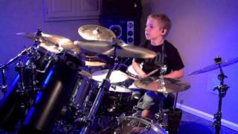SHOOT TO THRILL - AC/DC (7 year old Drummer) Drum Cover by Avery Drummer Molek
