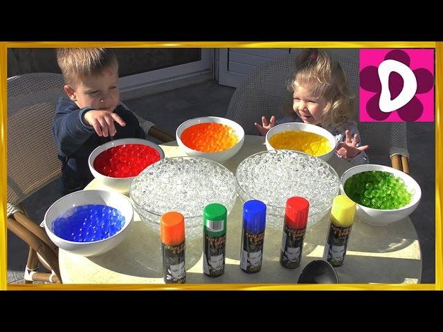 Красим ОРБИЗ в Разные Цвета Интересное видео для Детей ORBEEZ coloring Invisible Polymer Balls