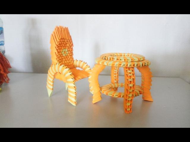 3d origami Desk and chair Hướng dẫn xếp bộ bàn ghế origami 3d poppy9011