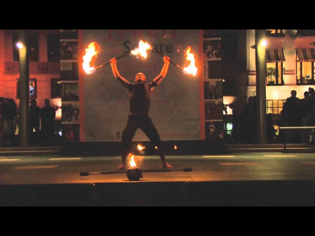 Fire Double Staff Solo: Adam Herscheid - Act 23 - Temple of Poi 2010 Fire Dancing Expo