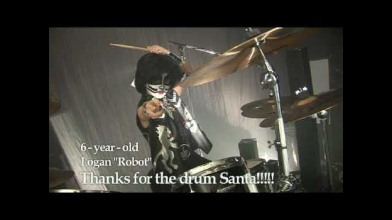 6 year old drummer LOGAN ROBOT GLADDEN transforms into KISS drummer