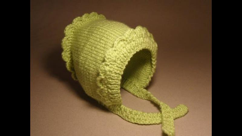 Детские шапочки крючком и спицами.№2 Шапочка для новорожденного