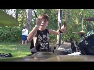 Alex Shumaker plays Nirvana Teen Spirit with Results May Vary Band - Drummer Cam