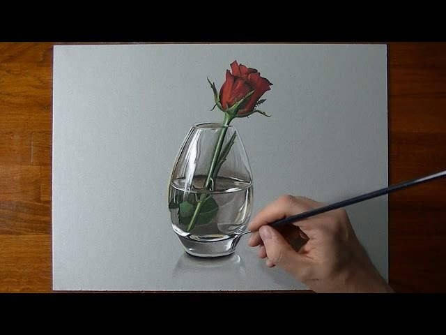 Drawing Time Lapse a red rose in glass vase