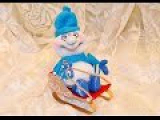 Снеговик в санях. Чулочные куклы / Snowman in a sleigh. stocking doll