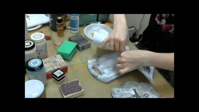 Декупаж кухонной доски: видео мастер-класс Натальи Жуковой. Протравливание, трансфер распечатки.