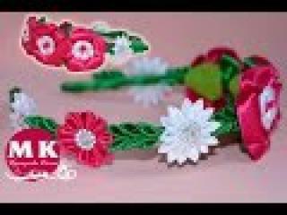 Мастер-класс Канзаши.Цветы из атласных лент.Ободок для волос/Bezel on the head. Flower Kanzashi.