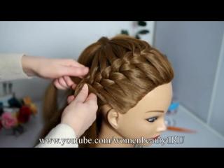 Прическа на длинные и средние волосы Корзинка. Плетение косы вокруг головы