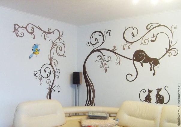 Чем расписывать стены в квартире своими руками