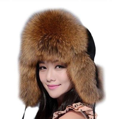 Женская шапка-ушанка с натуральным лисьим мехом