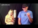 Папа и дочь красиво поют.