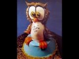 Как сделать фигурку совы из крема для украшения торта.
