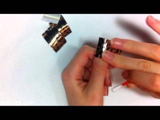 Нанесение фольги для дизайна ногтей Leopard