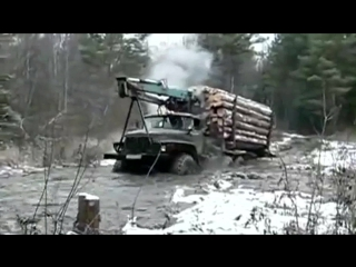 Truck Ural 4320 timber runs hard off-road  лесовоз Урал жесть