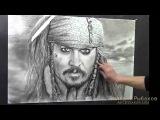Как нарисовать портрет - Джек Воробей - Джонни Депп! Time lapse портрет!