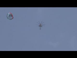Сирия. Бомбовый удар вертолёта по позициям боевиков в Муадамият аш-Шам,на подступах к Дамаску. .