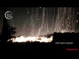 12.11.2015. Сирия, Идлиб. Боевиков бомбят зажигательными бомбами (видео с разных камер)