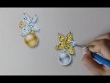 Jewelry rendering - Yellow Combo Pearl &amp Diamond E