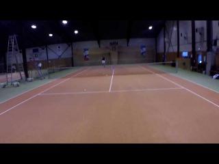 Bjorn Lynne - Tennis practice with GoPro HD Hero 3+ Black Edition mounted on head