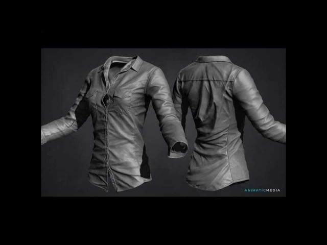3D Modeling female Shirt time lapse Zbrush Marvelous Designer