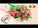 ►► Канзаши повязка мастер класс. Цветы из лент (атласных лент).  (Ускоренная версия)