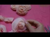Кручёная роза из ткани (шифона). Мастер-класс.