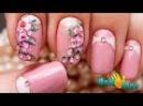Дизайн ГЕЛЬ ЛАКАМИ Ветка Сакуры Рисунок на ногтях цветы Урок росписи ногтей One Stroke