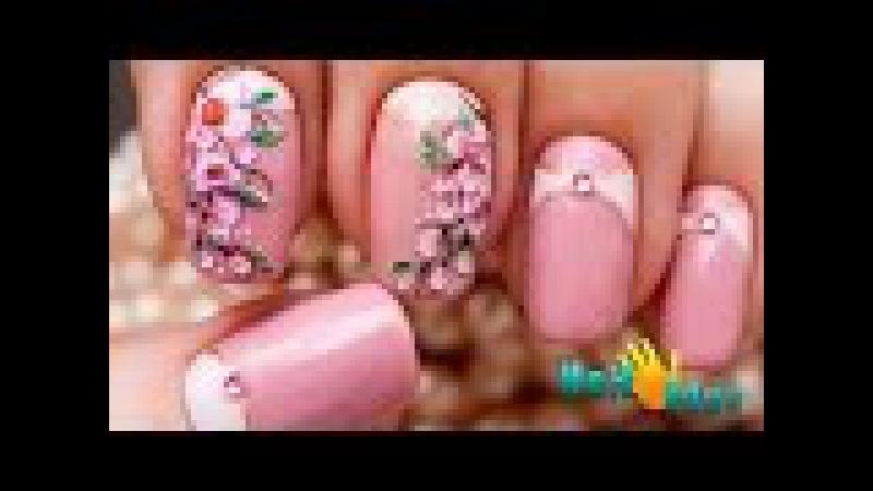 Дизайн ГЕЛЬ ЛАКАМИ Ветка Сакуры | Рисунок на ногтях цветы | Урок росписи ногтей | One Stroke
