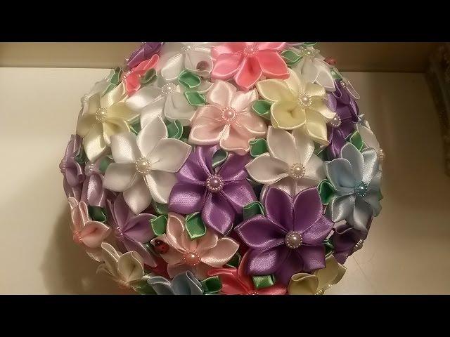 Букет из нежных цветов канзаши Подарок на 8 марта своими руками смотреть онлайн без регистрации