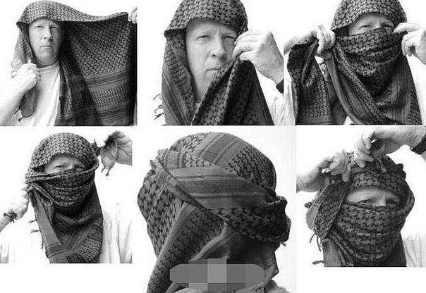 как мужсчины одивают арабский платок на шею стандартных